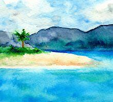 Sandy Cove - Seascape Watercolour by Brazen Edwards