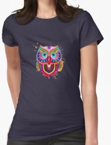 Cute Colorful Owl Womens Fitted T-Shirt