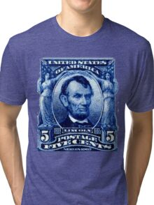 USA Abraham Lincoln Postage Stamp Tri-blend T-Shirt