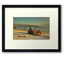 Derelict house sitting quietly among the fields.  Framed Print