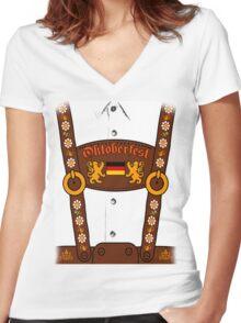 Oktoberfest Lederhosen Costume Women's Fitted V-Neck T-Shirt