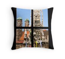 Munich's City Hall and church towers Throw Pillow