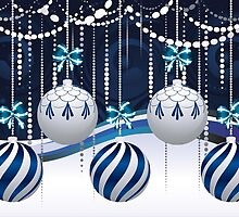 Blue and White Xmas Balls 3 by AnnArtshock