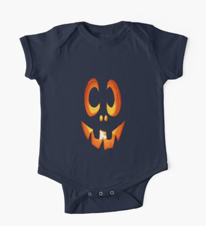 Vector Image of Friendly Halloween Pumpkin One Piece - Short Sleeve