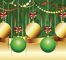 Gold and Green Xmas Balls 3 by AnnArtshock