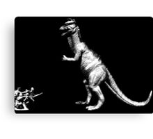 Dinosaur vs soldiers Canvas Print