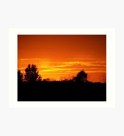 Orange Sunset over Warsaw, Indiana Art Print