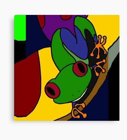 Funky Green and Blue Tree Frog Abstract Art Original Canvas Print
