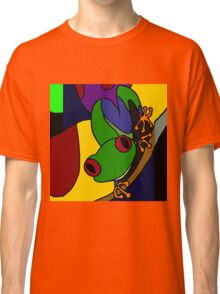Funky Green and Blue Tree Frog Abstract Art Original Classic T-Shirt