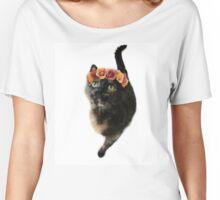 Flower Crown Puss Cat- Elsa Women's Relaxed Fit T-Shirt