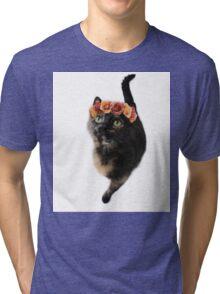 Flower Crown Puss Cat- Elsa Tri-blend T-Shirt