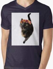 Flower Crown Puss Cat- Elsa Mens V-Neck T-Shirt