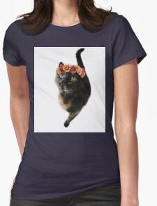 Flower Crown Puss Cat- Elsa Womens Fitted T-Shirt