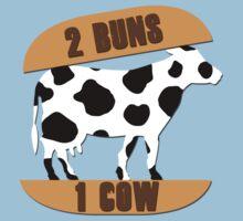2 Buns, 1 Cow One Piece - Short Sleeve