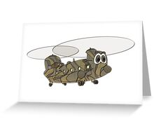 Chinook Military Helicopter Cartoon Greeting Card