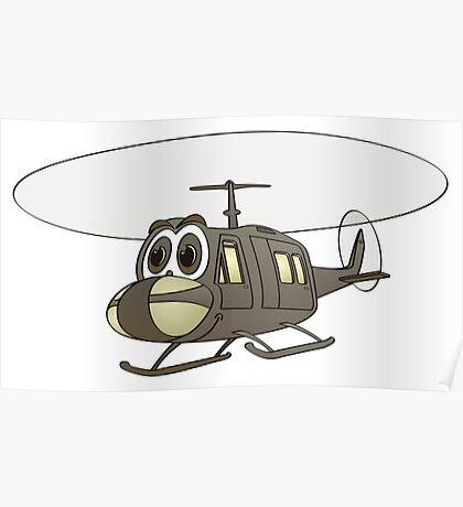 Huey Helicopter Cartoon Poster