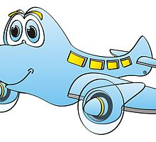 Blue Airplane Cartoon by Graphxpro