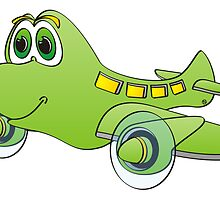 Green Airplane Cartoon by Graphxpro