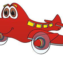 Red Airplane Cartoon by Graphxpro