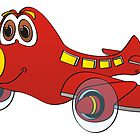 Red Yellow Nose Airplane Cartoon by Graphxpro