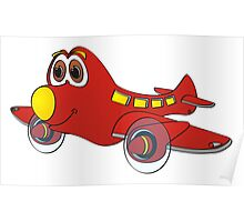 Red Yellow Nose Airplane Cartoon Poster