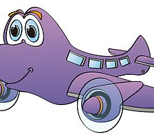 Purple Airplane Cartoon by Graphxpro