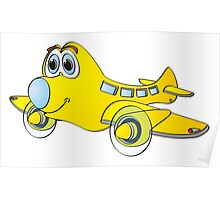 Yellow Blue Nose Airplane Cartoon Poster