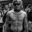 Protestor at Anti Anti Swearing Protest by Andrew  Makowiecki