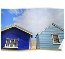 Blue Beach Huts, Southwold UK. Poster