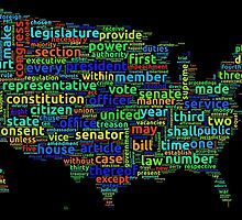 US Constitution Word Cloud Map on Black Background by ramiro