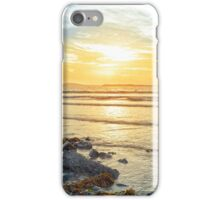 beal beach rocks and kelp sunset iPhone Case/Skin