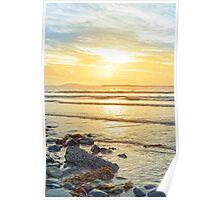 beal beach rocks and kelp sunset Poster