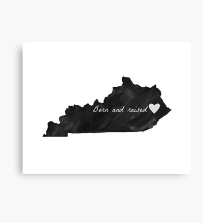 Born and Raised Kentucky Black Canvas Print