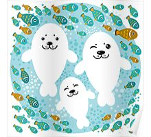 White cute fur seal and fish in water Poster