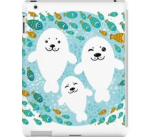White cute fur seal and fish in water iPad Case/Skin