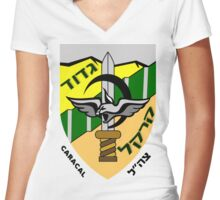 Caracal Battalion Logo Women's Fitted V-Neck T-Shirt
