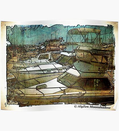 Boats at Hillarys Harbour Poster