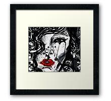 red lips Framed Print