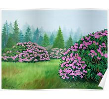 """""""Rhododendrons"""" - North Carolina Mountains Poster"""