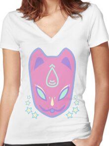 K I T S U N E (Kawaii Club Ver.) Women's Fitted V-Neck T-Shirt