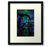 Foggy Pioneer Plaza Cattle Drive at Night Framed Print