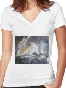 Roker Lighthouse Women's Fitted V-Neck T-Shirt