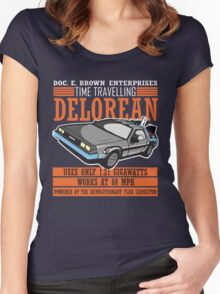 Doc E. Brown Time Travelling Delorean Women's Fitted Scoop T-Shirt