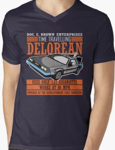 Doc E. Brown Time Travelling Delorean Mens V-Neck T-Shirt