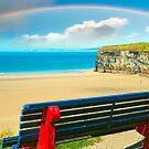 beautiful beach with rainbow in ballybunion by morrbyte