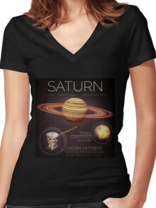 Planet Saturn Infographic NASA Women's Fitted V-Neck T-Shirt