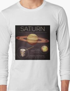 Planet Saturn Infographic NASA Long Sleeve T-Shirt
