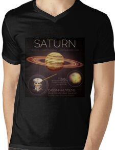 Planet Saturn Infographic NASA Mens V-Neck T-Shirt