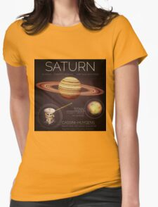 Planet Saturn Infographic NASA Womens Fitted T-Shirt