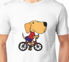 Funny Yellow Labrador Riding Bicycle Unisex T-Shirt
